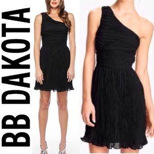 BB Dakota one shoulder pleated chiffon black dress